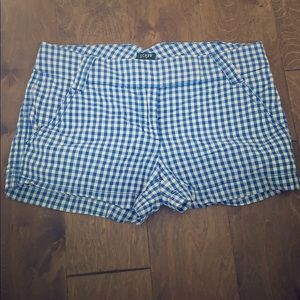 J Crew blue and white plaid shorts